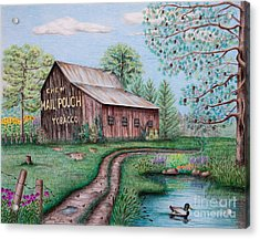 Mail Pouch Tobacco Barn Acrylic Print by Lena Auxier