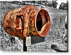 Mailbox With Character Acrylic Print by Kaye Menner