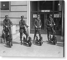 Mailmen On Scooters Acrylic Print by Underwood Archives