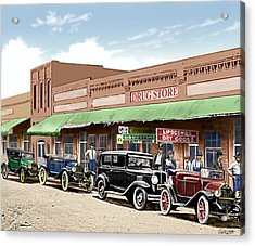 Old Main Street Grapevine Texas Acrylic Print by Walt Curlee