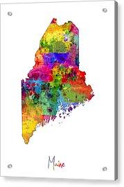 Maine Map Acrylic Print by Michael Tompsett
