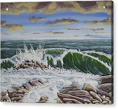 Crashing Waves At Pemaquid Point Maine Acrylic Print by Keith Webber Jr