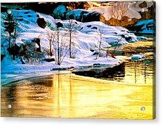 Maine Winter Along The Androscoggin River Acrylic Print by Bob Orsillo