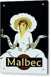 Malbec Vintage Wine Lady Acrylic Print by Fig Street Studio