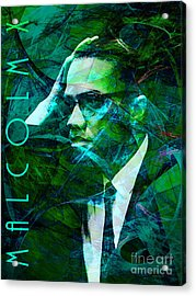 Malcolm X 20140105p138 With Text Acrylic Print by Wingsdomain Art and Photography