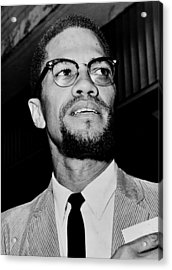 Malcolm X Acrylic Print by Benjamin Yeager