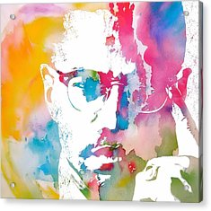Malcolm X Watercolor Acrylic Print by Dan Sproul