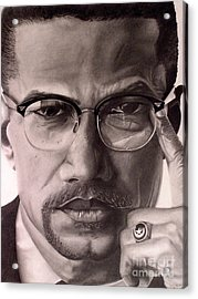 Malcolm X Acrylic Print by Wil Golden