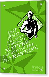 Male Marathon Runner Retro Poster Acrylic Print by Aloysius Patrimonio