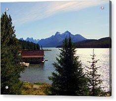 Maligne Lake Boathouse Acrylic Print by Karen Wiles