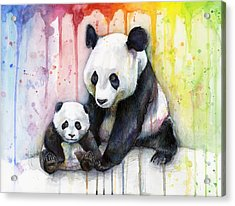 Panda Watercolor Mom And Baby Acrylic Print by Olga Shvartsur