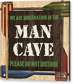 Man Cave Do Not Disturb Acrylic Print by Debbie DeWitt