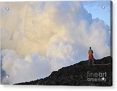 Man Contemplating Clouds Of Steam On Volcano Acrylic Print by Sami Sarkis