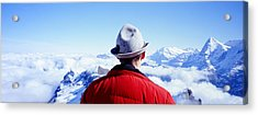 Man Contemplating Swiss Alps Acrylic Print by Panoramic Images