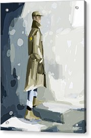 Man In A Trench Coat Fashion Illustration Art Print Acrylic Print by Beverly Brown Prints