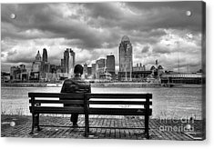 Man On A Bench Acrylic Print by Mel Steinhauer