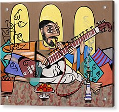 Man Playing A Sitar Acrylic Print by Anthony Falbo