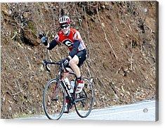 Man Riding Bike In A Race Acrylic Print by Susan Leggett