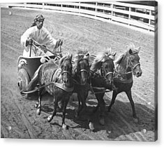 Man Riding In Chariot Acrylic Print by Underwood Archives