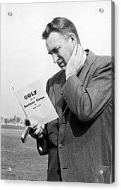 Man Studying A Golf Book Acrylic Print by Underwood Archives