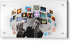 Man Surrounded By Imagery Acrylic Print by Panoramic Images