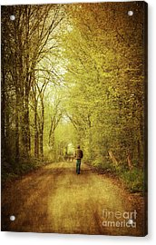 Man Walking  On A Lonely Country Road Acrylic Print by Sandra Cunningham