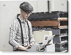 Man Writing On Old Typewriter Acrylic Print by Jorgo Photography - Wall Art Gallery
