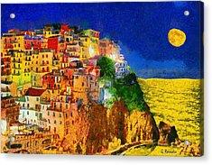Manarola By Night Acrylic Print by George Rossidis