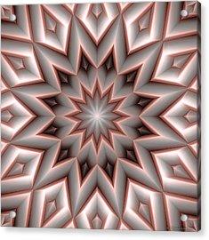 Mandala 107 Red Acrylic Print by Terry Reynoldson