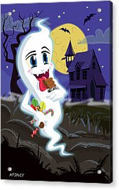 Manga Sweet Ghost At Halloween Acrylic Print by Martin Davey
