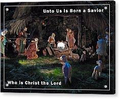 Manger Christmas Card Acrylic Print by John Haldane