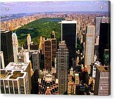 Manhattan And Central Park Acrylic Print by Monique Wegmueller
