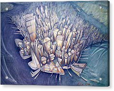 Manhattan From Above, 1994 Oil On Canvas Acrylic Print by Charlotte Johnson Wahl