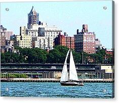 Manhattan - Sailboat Against Manhatten Skyline Acrylic Print by Susan Savad