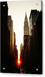 Manhattanhenge Sunset And The Chrysler Building  Acrylic Print by Vivienne Gucwa