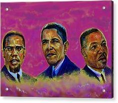 M.a.n...malcolm- Obama- Martin Acrylic Print by Tommy  Winn