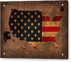 Map Of America United States Usa With Flag Art On Distressed Worn Canvas Acrylic Print by Design Turnpike