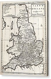 Map Of Anglo-saxon England Acrylic Print by Middle Temple Library