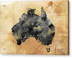 Map Of Australia Grunge Acrylic Print by Daniel Hagerman