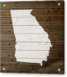 Map Of Georgia State Outline White Distressed Paint On Reclaimed Wood Planks Acrylic Print by Design Turnpike