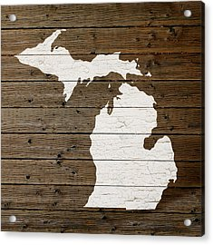 Map Of Michigan State Outline White Distressed Paint On Reclaimed Wood Planks Acrylic Print by Design Turnpike