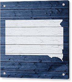 Map Of South Dakota State Outline White Distressed Paint On Reclaimed Wood Planks Acrylic Print by Design Turnpike