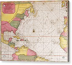 Map Of The Atlantic Ocean Showing The East Coast Of North America The Caribbean And Central America Acrylic Print by French School