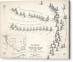 Map Of The Battle Of Trafalgar Acrylic Print by Alexander Keith Johnson