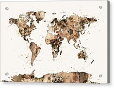 Map Of The World Map Sepia Watercolor Acrylic Print by Michael Tompsett