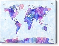 Map Of The World Map Watercolor Painting Acrylic Print by Michael Tompsett