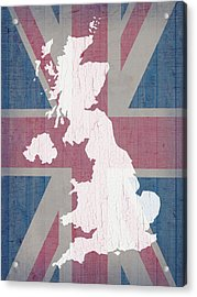 Map Of United Kingdom And Union Jack Flag On Barn Wood Acrylic Print by Design Turnpike