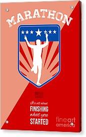 Marathon Runner Finish Run Poster Acrylic Print by Aloysius Patrimonio