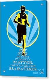 Marathon Runner First Retro Poster Acrylic Print by Aloysius Patrimonio