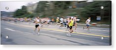 Marathon Runners On A Road, Boston Acrylic Print by Panoramic Images